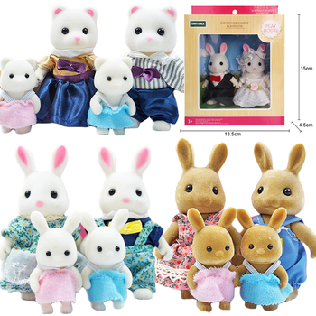 Children's Simulation Forest Animal Family 1:12 Dollhouse Furniture Cute Figure Miniature Rabbit Girl Little Critters Toys Gifts