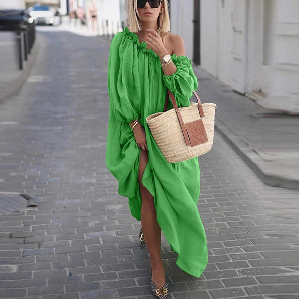 여성 의류 가을 Boho 플러스 사이즈 드레스 캐주얼 숄더 빈티지 드레스 루스 맥시 드레스 가운 Vestidos Femme