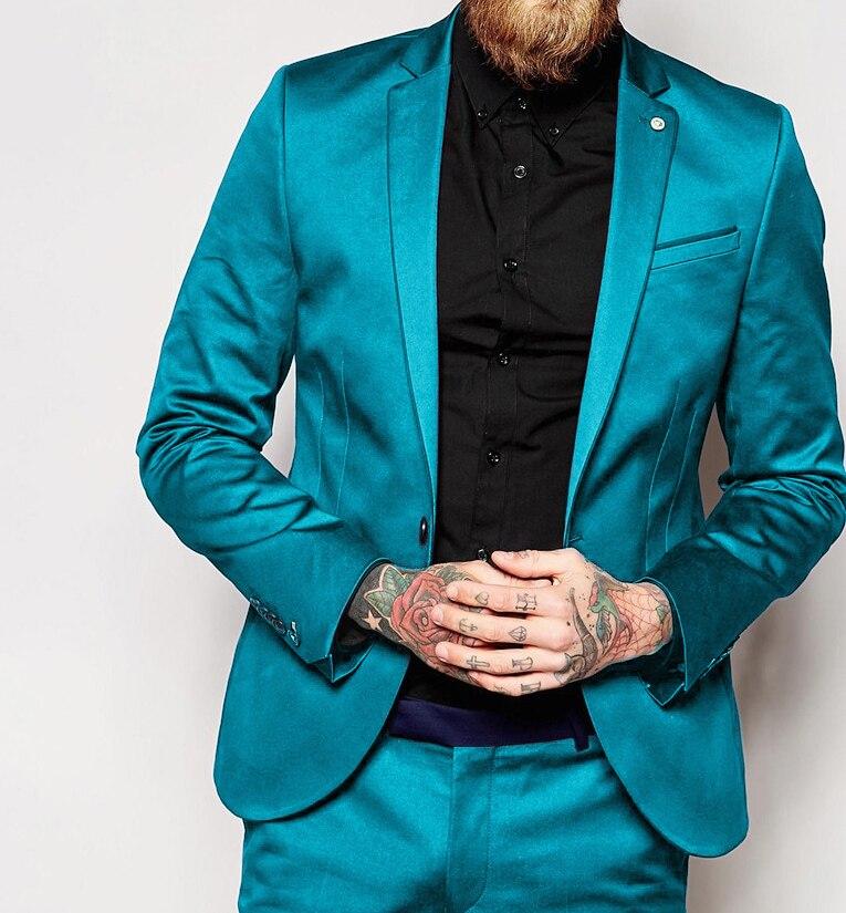 ANNIEBRITNEY 2019 Fashion Shiny Blue Satin Italian Men Suit Prom Party Wedding Tuxedos Slim Fit Groom Suits Custom Blazer Pants