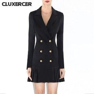 Винтажное Плиссированное двубортное женское платье, офисное женское элегантное черное платье-Блейзер, весеннее тонкое платье с длинным ру...