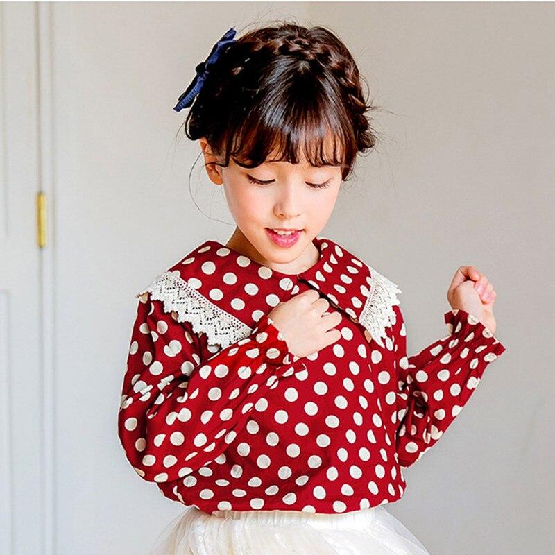 DFXD 2020 Весенняя рубашка с длинным рукавом для девочек-подростков с большим отложным воротником рубашки в горошек для кукол корейская мода хл...