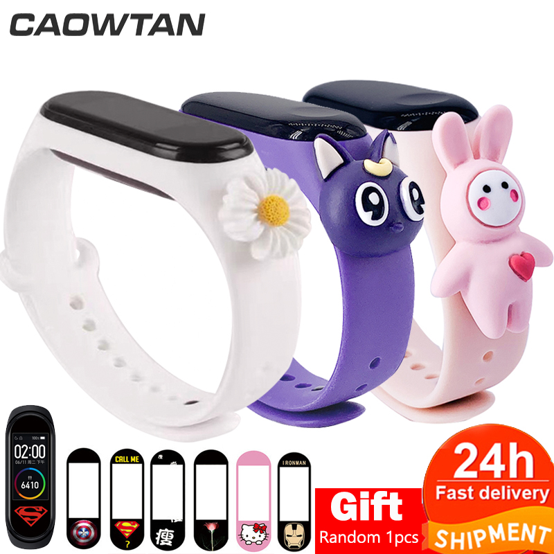 For Cute Miband 4 Strap Replacement Silicone Mi 4 Band Straps Toy Mi Band 3 Strap For Xiaomi Miband 3/4 Band Accessories NFC