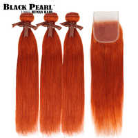 Mechones de pelo humano liso brasileño Remy con cierre, mechones color naranja Perla Negra, envío gratis