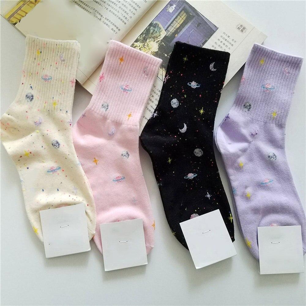 Harajuku Planet Point Yarn Funny Socks Japanese Creative Moon Stars Socks Women Winter Warm Cute Novelty Femme Sokken Meias