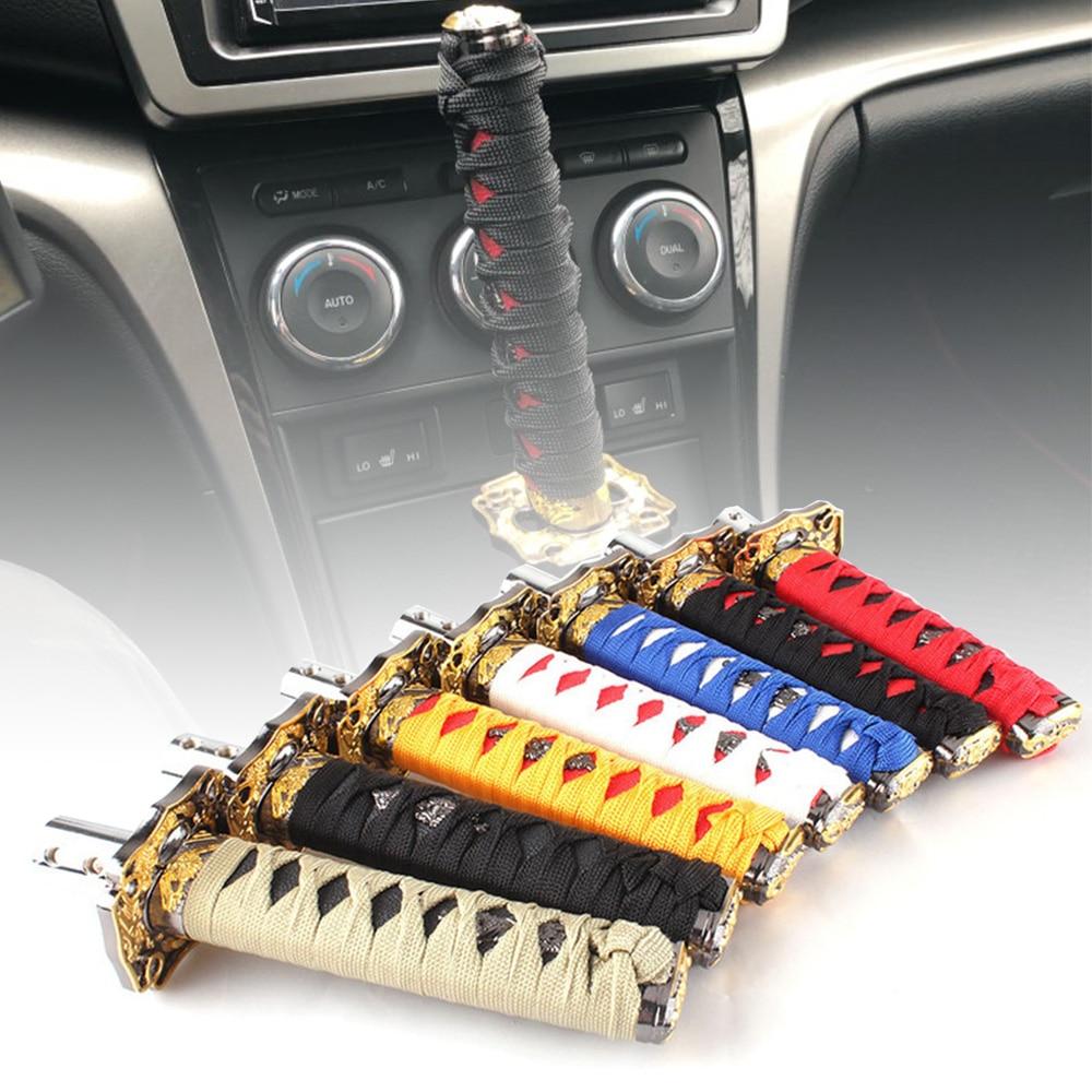 Car Samurai Sword Gear Shift Knob Shifter Alloy JDM Replacement Black+Red 15cm