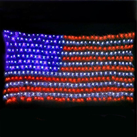 Waterproof American Flag Net Lights 6.5FT x 3.3FT Outdoor LED String Mesh Lights Indoor USA Flag Lights for Festival Decoration