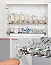 Простая установка 73-98 см 2-уровневый шкаф из нержавеющей стали внутри посуды сушилка для тарелок органайзер для хранения тарелок