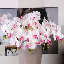 Artificial Silk White Orchid Flowers High Quality Butterfly Moth Phalaenopsis Fake Flower for Wedding Home Festival Decoration