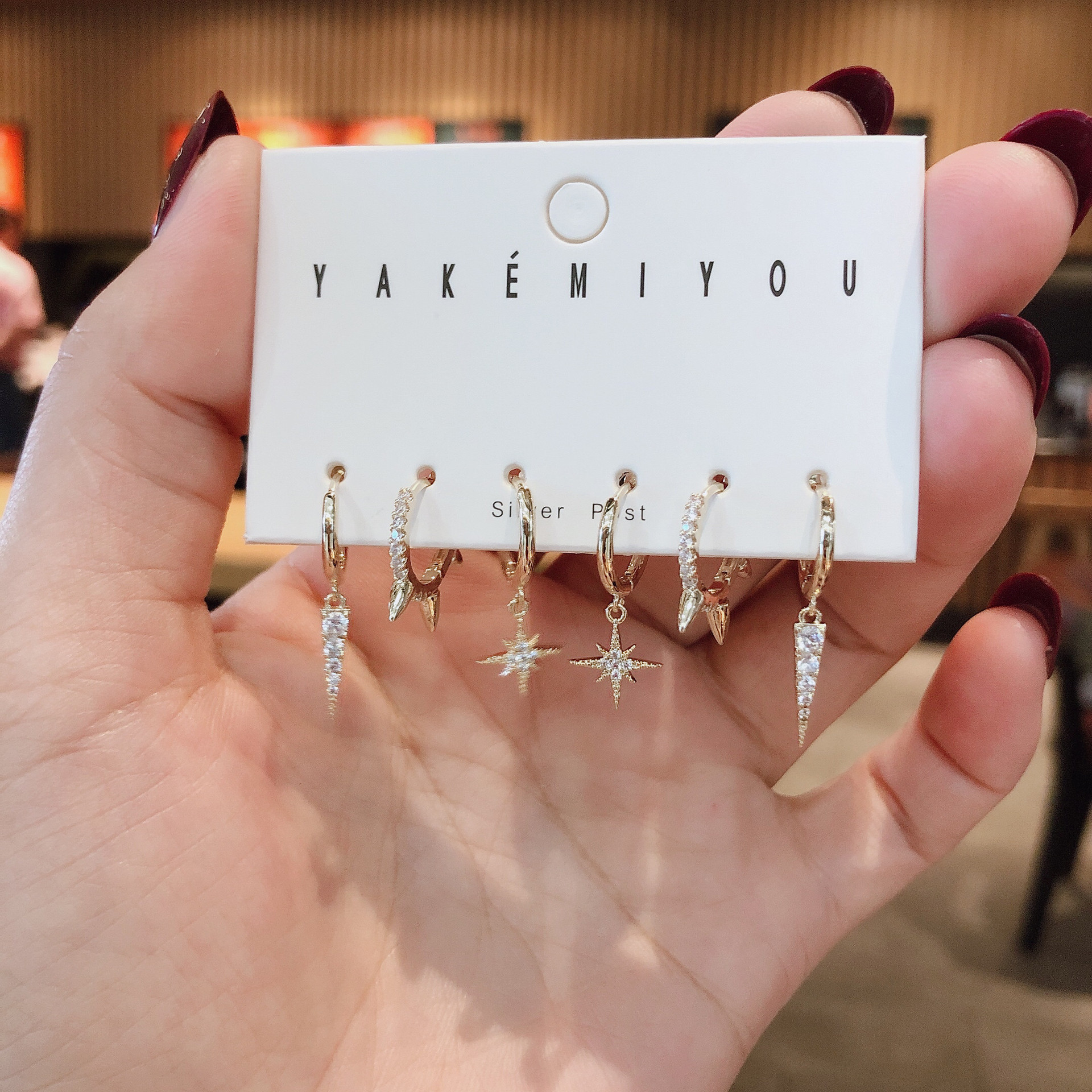 SIPENGJEL Fashion Star Small Circle Hoop Earrings Sets For Women 6-piece Dangle Drop Earrings  Accessories Jewelry 2021