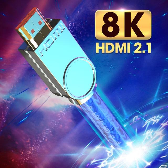MOSHOU Real HDMI 2.1 Kabel Ultra HD (UHD) 8 K HDMI 2.1 Kabel 48Gbs met Audio & Ethernet HDMI Cord 1 M 2 M 5 M 10 M 15 M 20 M HDR 4:4:4
