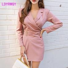 2019 Korean version of autumn and winter models ladies waist dress Zippers  Knee-Length Regular