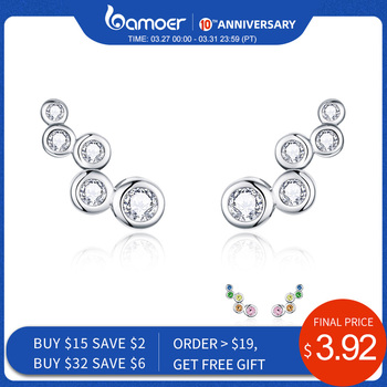 Bamoer Shiny Bubble długie kolczyki sztyfty dla kobiet geometryczne proste 925 srebro biżuteria oświadczenie prezent zaręczynowy BSE235 tanie i dobre opinie SILVER Stadniny kolczyki Kobiety Klasyczny Cyrkonia Moda Push-powrotem