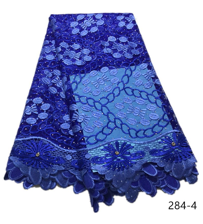 Best selling african tulle lace fabric 2020 high quality royal blue nigerian lace fabrics Embroidery tulle french lace fabric284