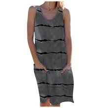 Frauen Mode Lässig Ärmellose Leibchen Drucken Maxi Tank Knie-Länge Kleid Frühling Sommer 2021 Frauen Mode Frau T-shirts