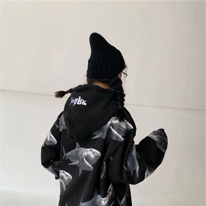 2020 Harajuku Shark  Printed Hooded Oversized Loose Long Sleeve White Ulzzang Hoodie Streetwear Females Cool Animal Hoodie Funny