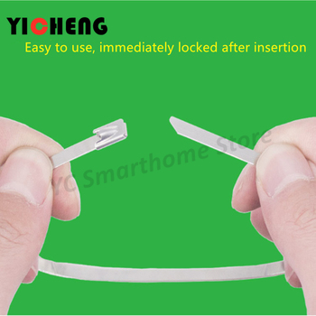 10Pcs steel cable tie 4.6MM self-locking metal  201/304/316 stainless material outdoor oxidation resistance