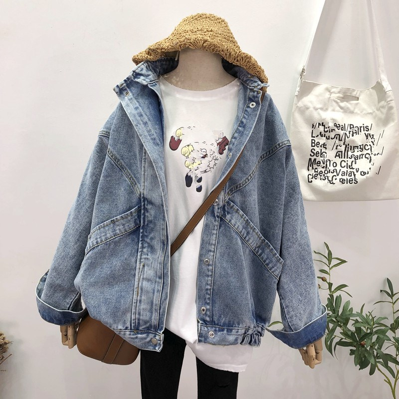 Plus Size Vintage Turn-down Collar Denim   Jacket   Coat Women Streetwear Pockets   Jackets   Long Sleeve Loose   Basic     Jackets