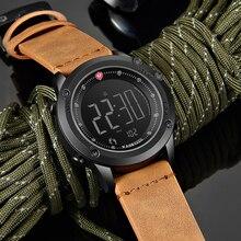 Kademan relógio de pulso masculino, relógio digital esportivo com tecnologia à prova d água com contador de 3atm, relógio de couro casual e tela lcd
