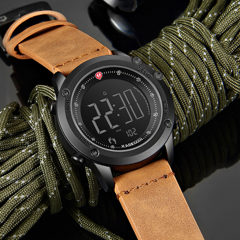 Relógios de Pulso Relógio de Couro Kademan Tecnologia Relógio Digital Moda Esportes Homens Passos Contador 3atm Casual Display Lcd Masculino