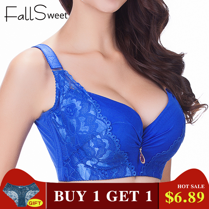 FallSweet <font><b>Sexy</b></font> women <font><b>bra</b></font>,plus size <font><b>D</b></font> E <font><b>cup</b></font> <font><b>push</b></font> <font><b>up</b></font> <font><b>bra</b></font> brassiere,side adjustment underwear 85 90 95 100 105 image