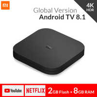 Boîtier TV Global Xiao mi mi S 4K HDR Android TV 8.1 Ultra HD 2G 8G WIFI Google Cast Netflix IPTV décodeur 4 lecteur multimédia intelligent
