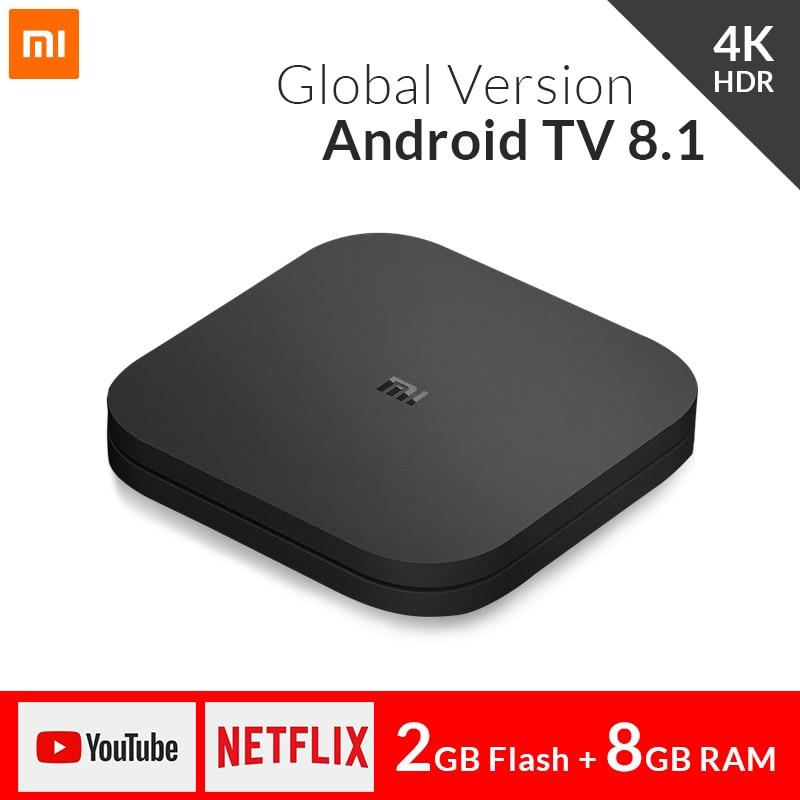 Global xiao mi mi tv caixa s 4 k hdr android tv 8.1 ultra hd 2g 8g wifi google elenco netflix iptv conjunto caixa superior 4 smart media player