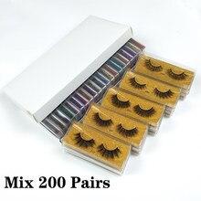 Atacado cílios 100/150/200 pares 3d vison cílios postiços naturais feito à mão maquiagem cílios de olho 3d vison cílios granel