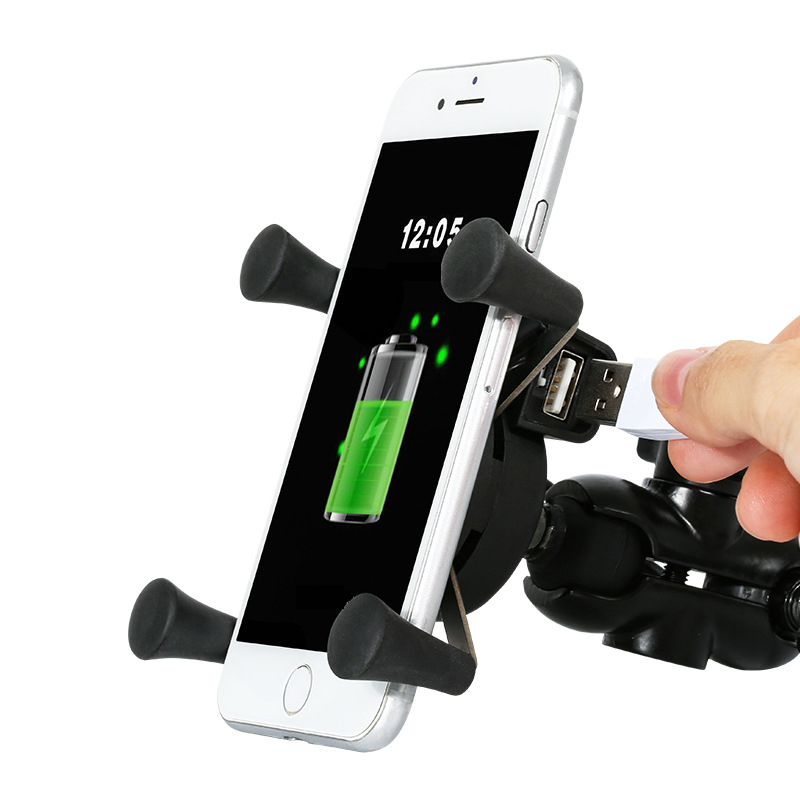 X-Shape Stand Motorcycle Car Mount Car Phone Holder Handlebar Phone Holder Bike Grip for Xiaomi USB Charger for 4.7-6 Inch