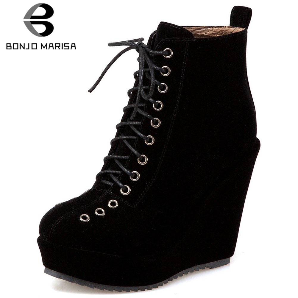 BONJOMARISA Large Size 34-43 Super High Wedges Booties Ladies Lace-up High Platform Ankle Boots Women 2019 Black OL Shoes Woman