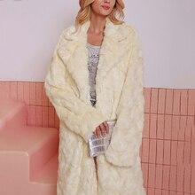 цены на Winter Thicken Warm Women Luxury Long Faux Fur Coat Turn Down Collar Slim Trench Fur Jacket Hairy Overcoat Streetwear Clothes  в интернет-магазинах