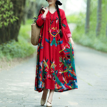 купить Women Vintage Autumn Dress Women Retro Contrast Print Maxi Dress Long Sleeve Plus Size Dress Oversized Long Robe Vestidos Female по цене 686.48 рублей