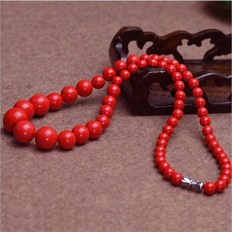 Cina Merah Alami Organik Cinnabar 6-14 Mm Kalung Manik-manik Pesona Perhiasan Fashion Pria Wanita Beruntung Amulet Hadiah Baru