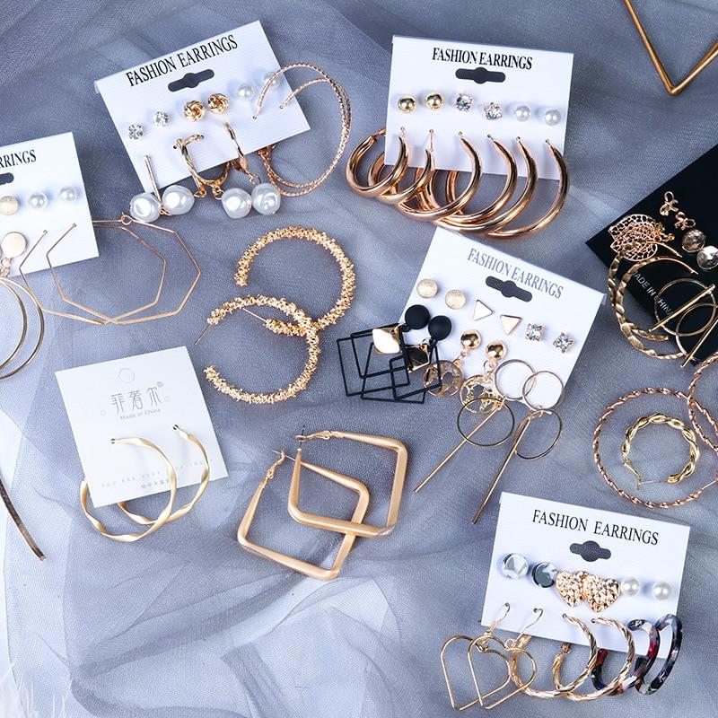 Винтажные большие круглые серьги-кольца для женщин 2020 летние модные массивные простые золотые круглые вечерние висячие серьги в стиле панк...