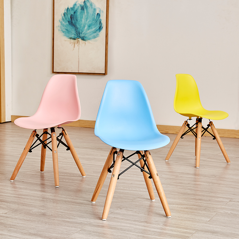 Nordic INS Solid Wood Plastic Children's Chair Dining Chairs for Dining Rooms Restaurant Furniture Children's Wood Dining Chair