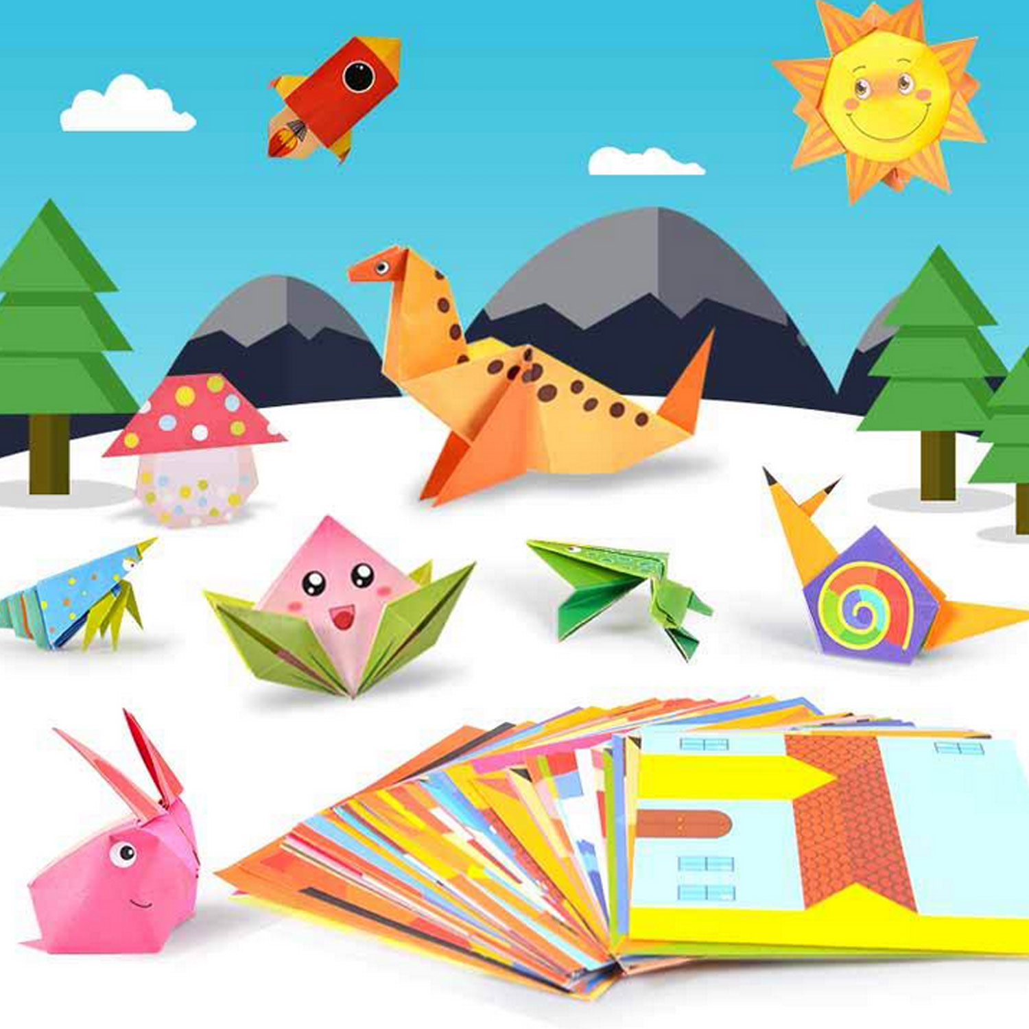 54 Sheets 3D Kids Origami Cartoon Animal Book Folding Paper for Children DIY Crafts Paper Art Projects Early Educational Toys