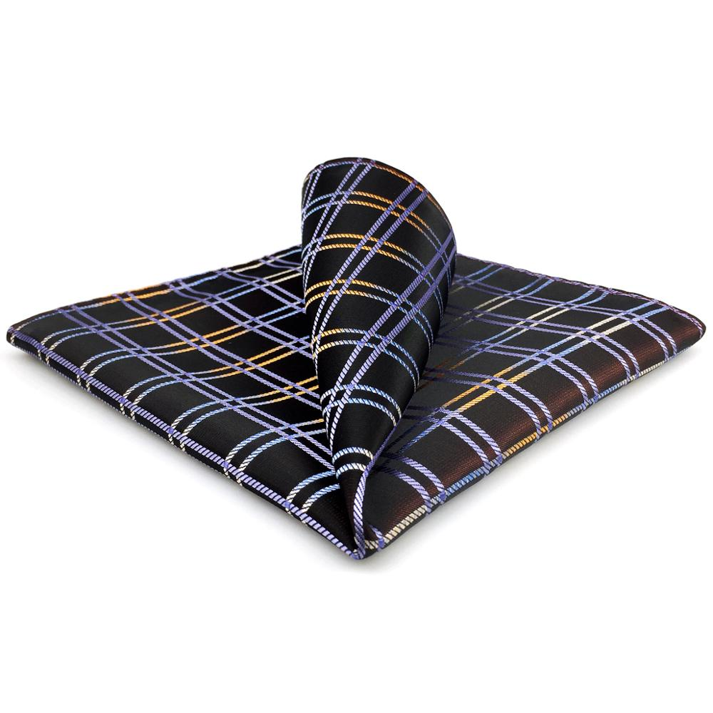 FH02 Brown Checkes Pocket Square Silk Classic For Men Business