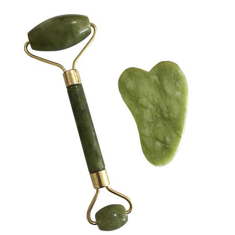 Double Green Jade Roller Wajah Roller Wajah Massager Pelangsing Wajah Angkat Pijat Batu Kuarsa Leher Alat Pijat