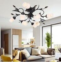 Europeu americano jardim ferro forjado lâmpada do teto sala de estar quarto jantar estudo flor luminárias teto