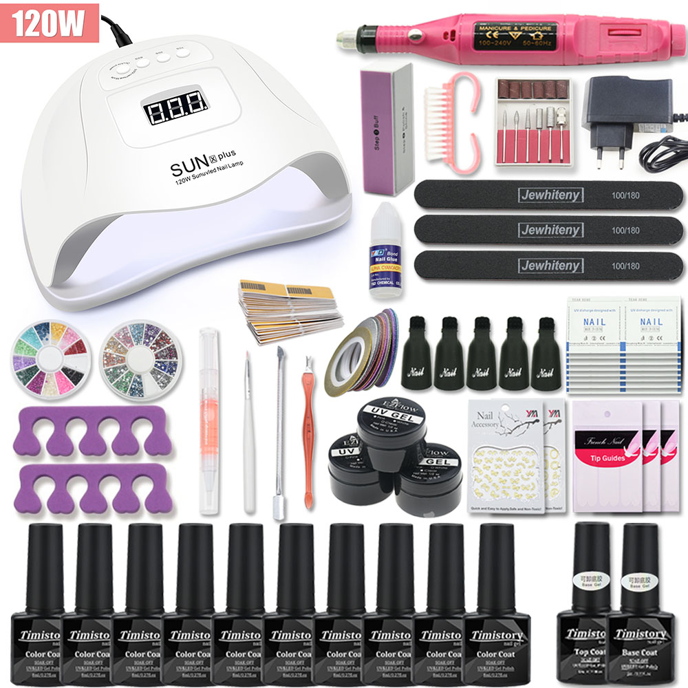 Nail Kit Manicure Set 120W/80W/54W UV Lamp With 10 PCS Gel Varnish Set Nail Drill Machine Nail Art Tool Set Top Base Coat