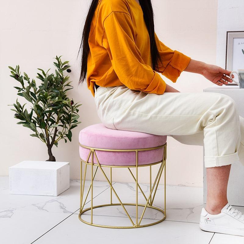 Small Stool Fashion Creativity Change Shoe Stool Household Low Stool Make  Up Stool Sofa Stool Cloth Art Round Stool Modern Cont