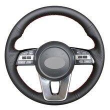 Funda de cuero sintético para volante de coche, cubierta de cuero artificial, cosida a mano, para Kia K5 Optima 2019 Cee d Ceed 2019 Forte Cerato (AU) 2018