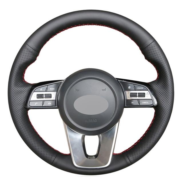 Schwarz PU Faux Leder DIY Hand genäht Auto Lenkrad Abdeckung für Kia K5 Optima 2019 Cee solltest Ceed 2019 Forte Cerato (AU) 2018