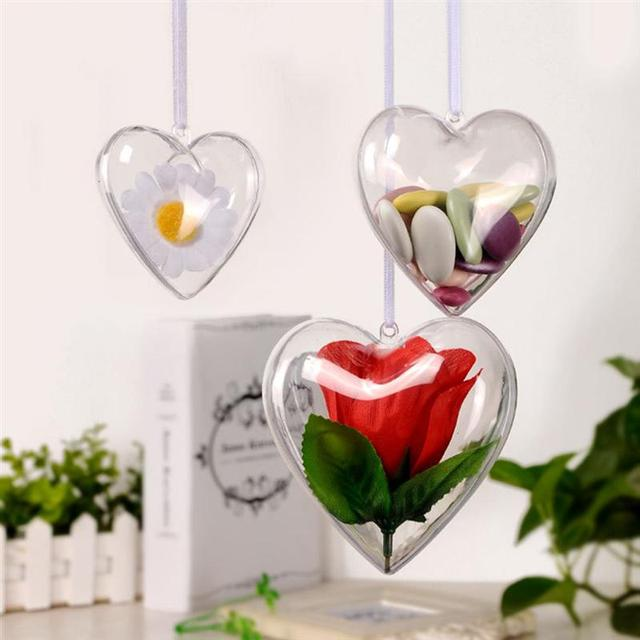 10pcs Clear Heart Shape Ball Candy Box Ornament DIY Plastic Ball Hanging Decor Crafting Birthday Wedding Party Supplies A35