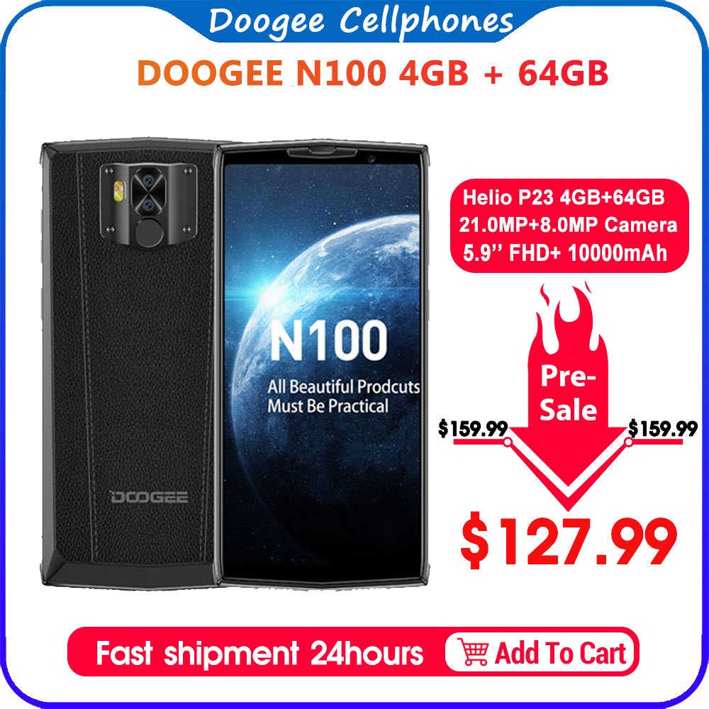 DOOGEE N100 Mobilephone 10000mAh Battery Fingerprint 5.9inch FHD+ Display 21MP Camera MT6763 Octa Core 4GB 64GB Cellphone 4G-LTE