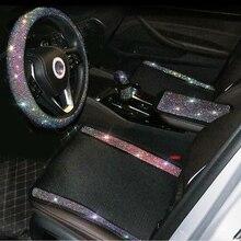 Diamond Rhinestones Universal Car Seat Covers Interior Accessories Ice Silk Mesh Auto Seat Cushion Pad Four Seasons Neck Pillow