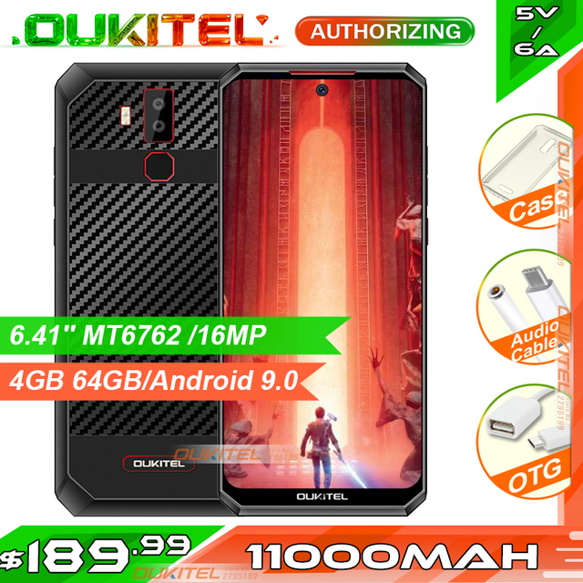 OUKITEL K13 Pro 6.41 11000mAh 4GB 64GB Smartphone MT6762 Octa Core Android 9.0 NFC Mobile Phone Face ID 5V/ 6A Fast Charge