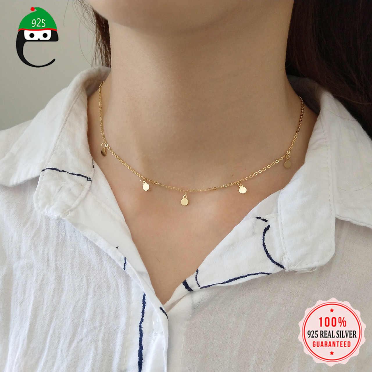 ElfoPlataSi 925 srebro minimalistyczny geometryczny jasny dysk Choker naszyjnik dla kobiet mody 925 biżuteria czechy prezent D332