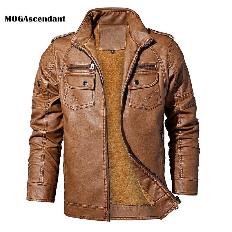 Men's Leather Jackets Winter Fleece Casual Motorcycle Jacket Biker Leather Coats European Windbreaker Genuine Leather Jacket
