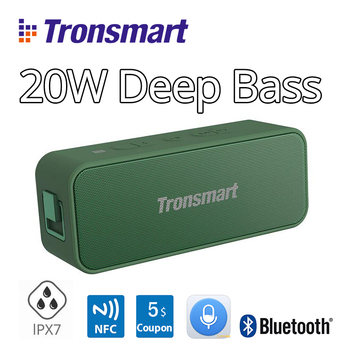 [European Stock, new version] Tronsmart Element T2 Plus NFC 20W Portable Bluetooth 5.0 Speaker Green IPX7 Soundbar with TWS