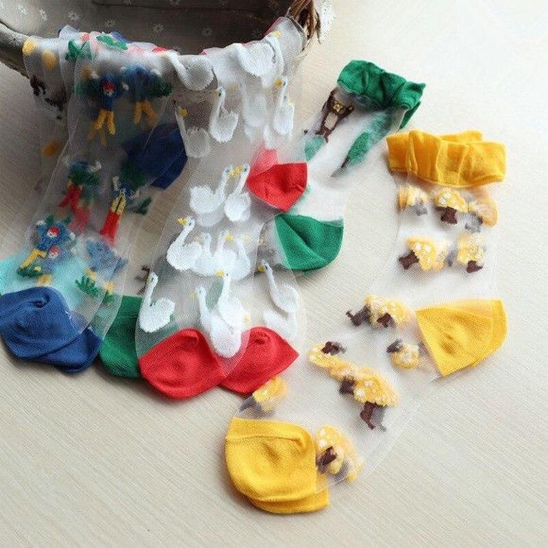 Primavera e verão novas senhoras meias barco personalidade série marinha cartão das mulheres de seda meias meias de vidro